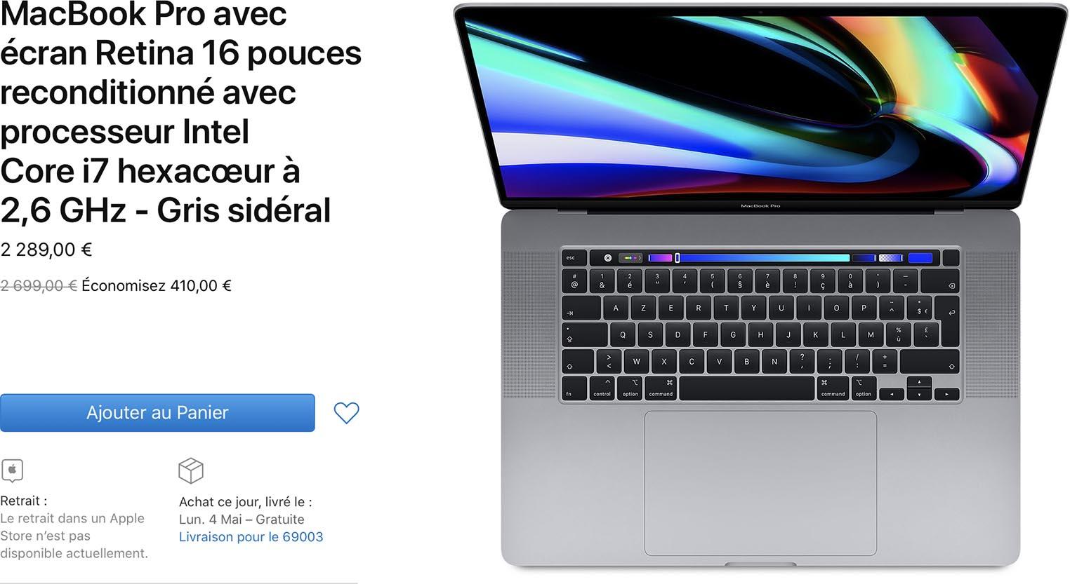Refurb Store MacBook Pro 16 pouces 2019
