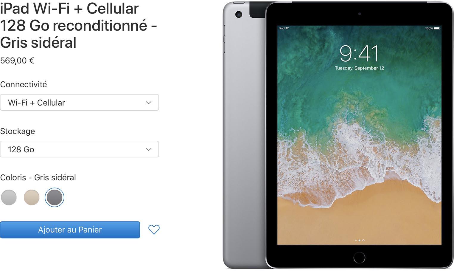 iPad cellulaire Refurb Store