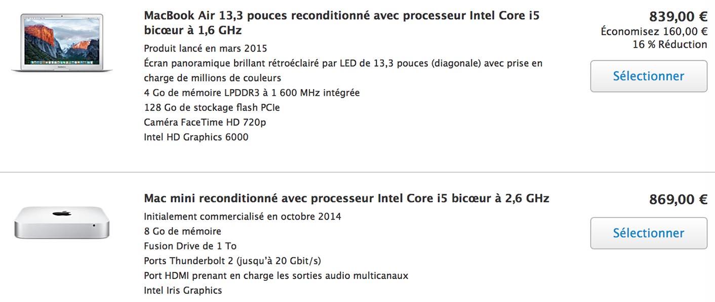 Refurb Store MacBook Air Mac mini