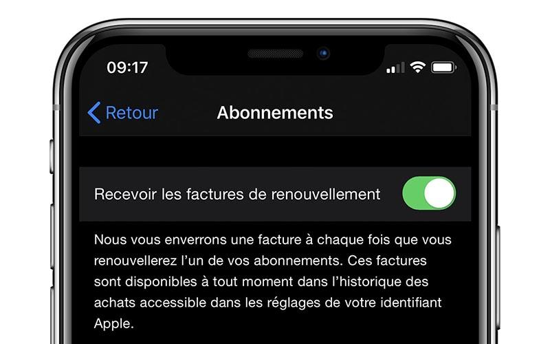 Abonnements Apple : les factures de renouvellement par e-mail deviennent optionnelles