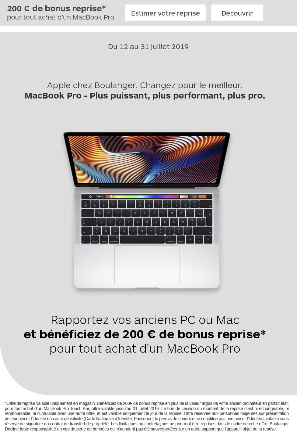 Reprise MacBook Pro 2019 Boulanger