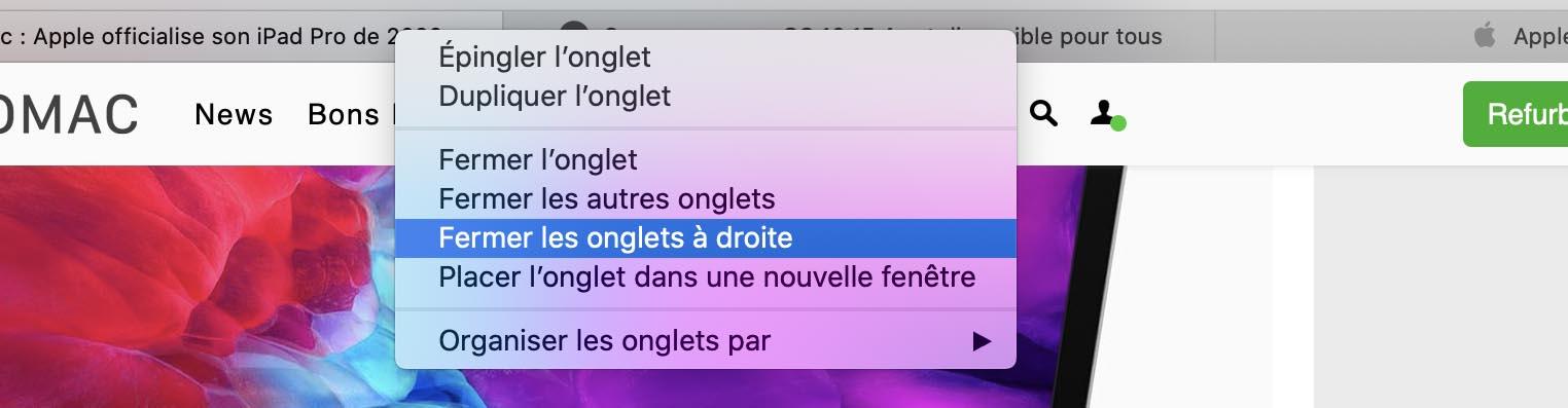 Safari 13.1 fermer onglets à droite