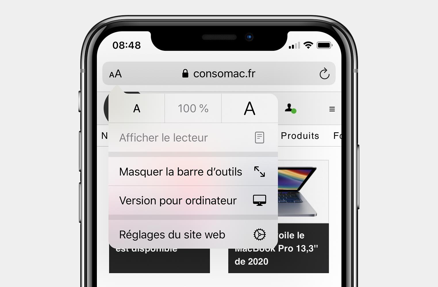 Safari options iOS 13