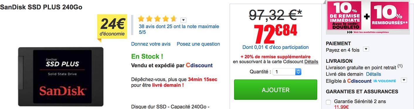 SanDisk SSD PLUS CDiscount