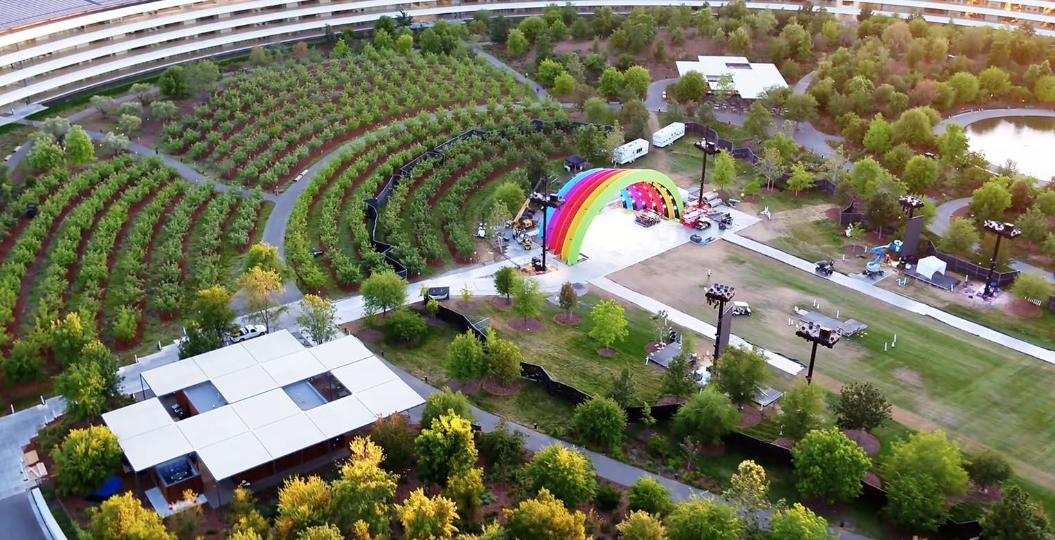 La surprenante scène multicolore d'Apple Park