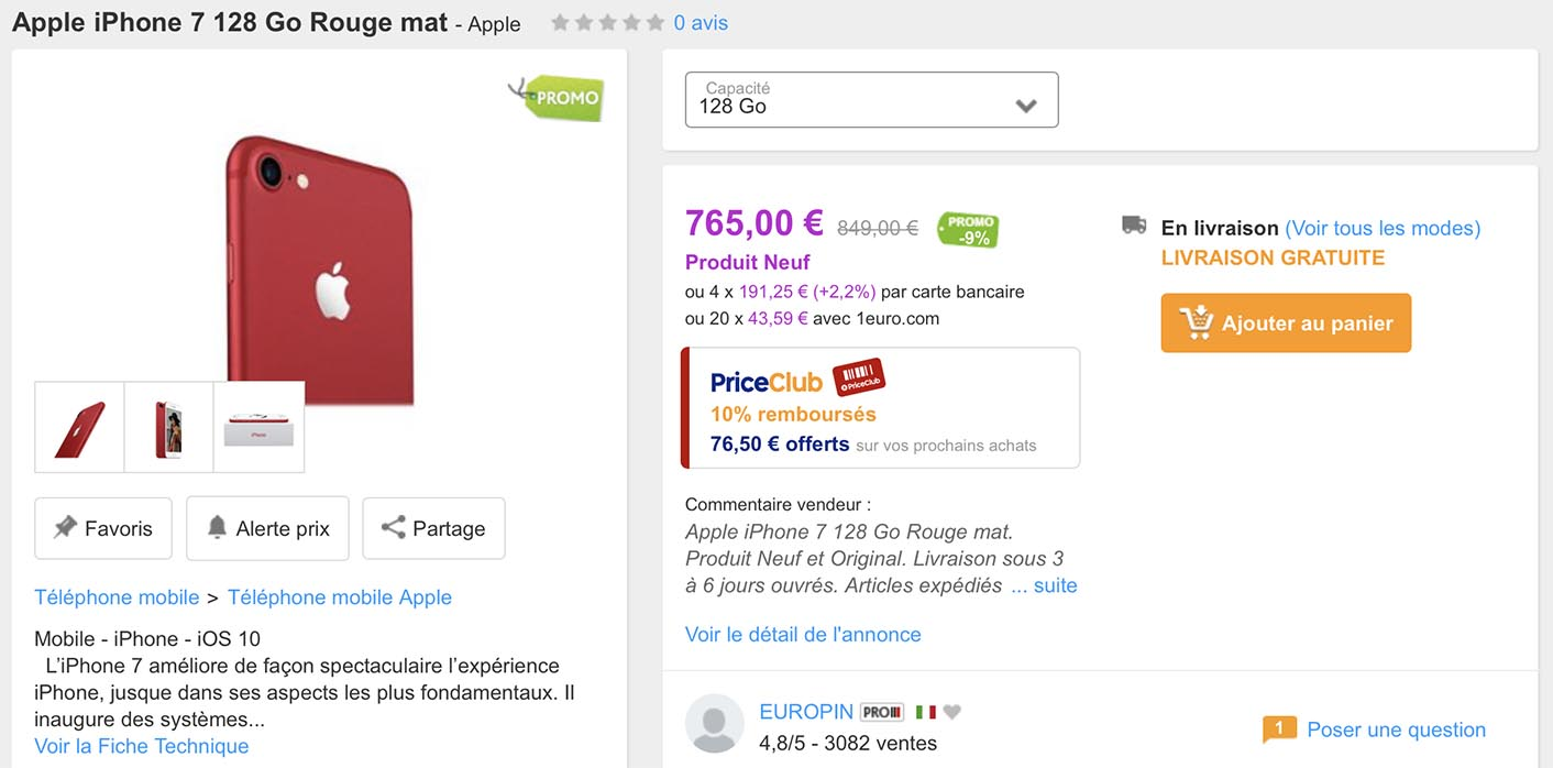 iPhone 7 rouge promo PriceMinister