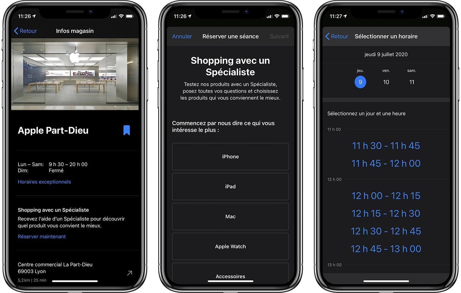 Apple spécialiste shopping créneaux