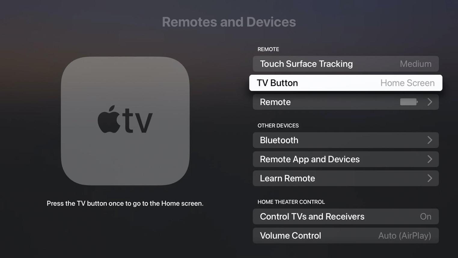 tvOS 14.5 TV Button
