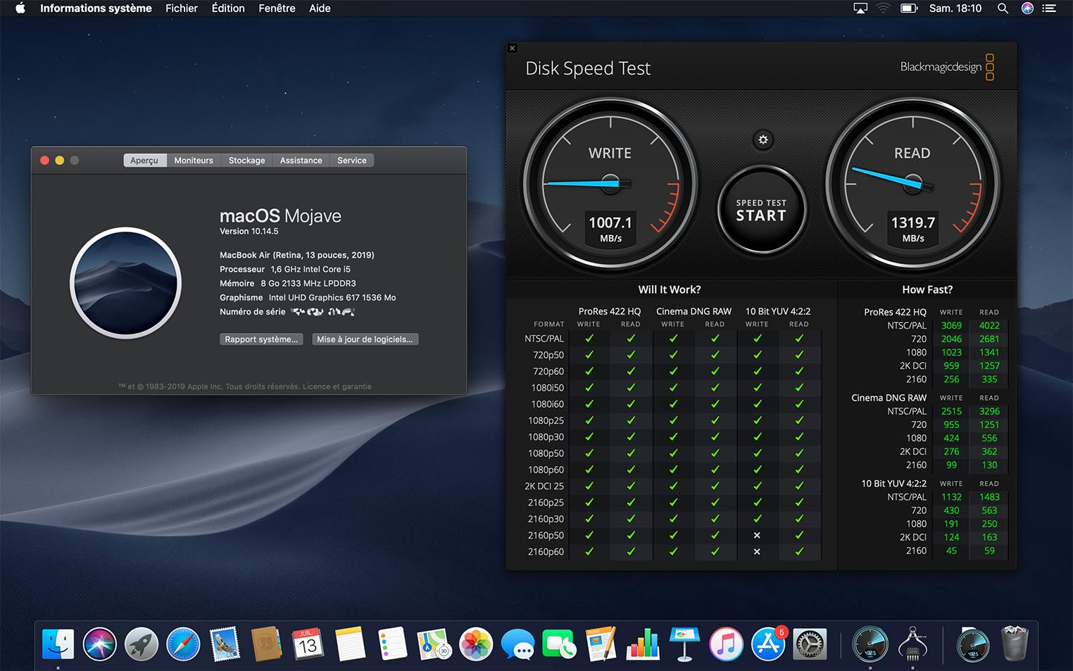MacBook Air 2019 SSD Blackmagic
