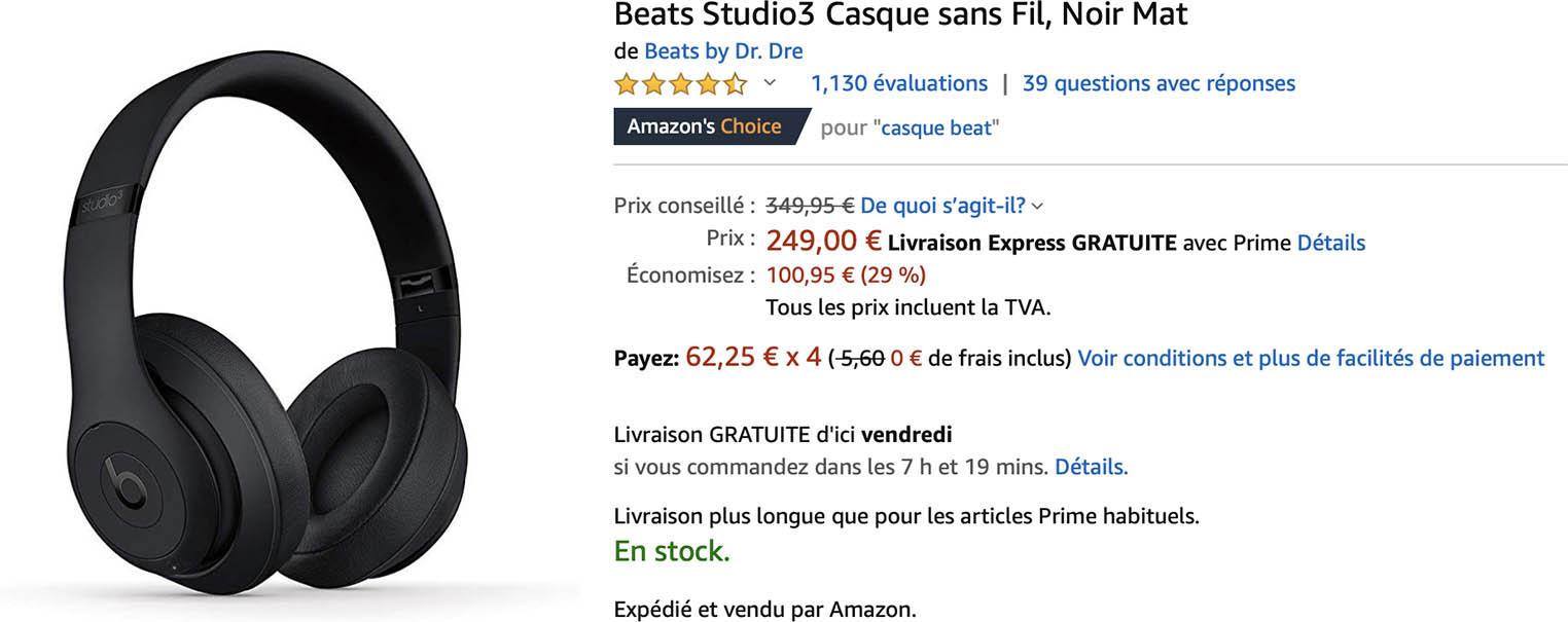 Casque Beats Studio3 Amazon