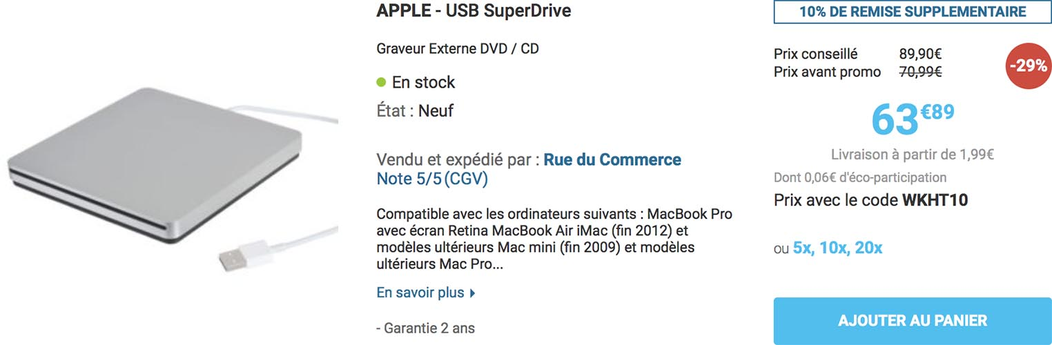 SuperDrive USB Apple promo Rue du Commerce