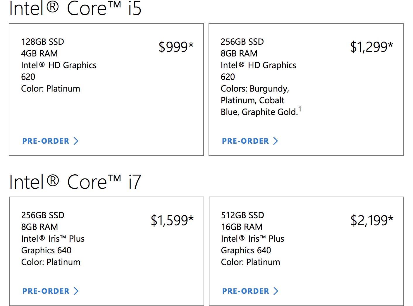 Surface Laptop tarif