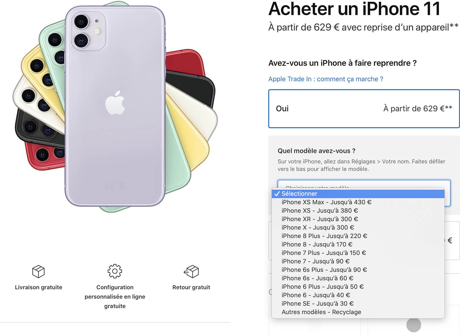 Tarifs reprise iPhone janvier 2020
