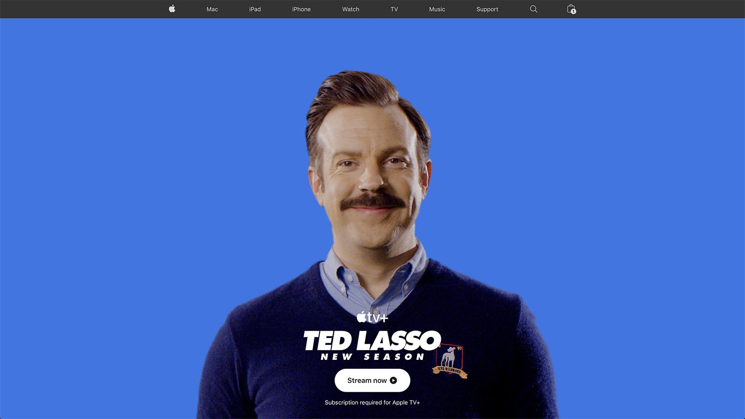 Ted Lasso page d'accueil Apple.com