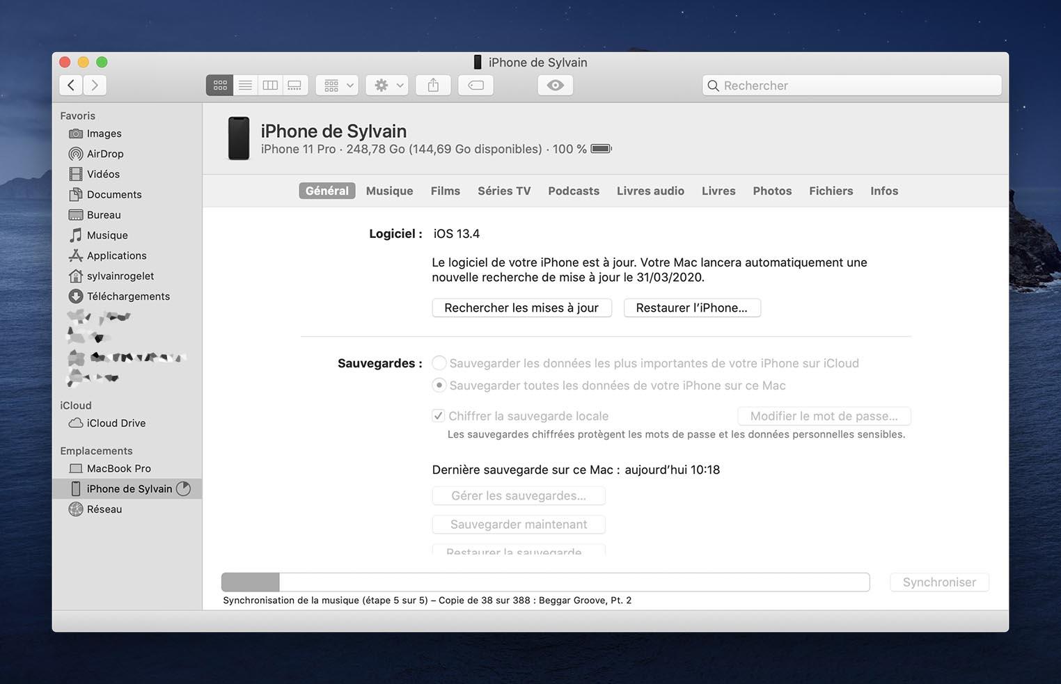 Témoin synchronisation iPhone macOS 10.15.4