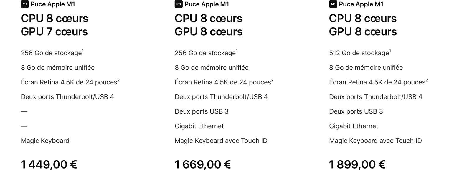 Tarifs iMac M1