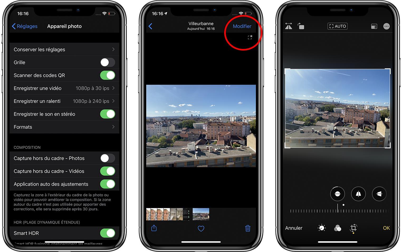 iPhone 11 photo hors cadre