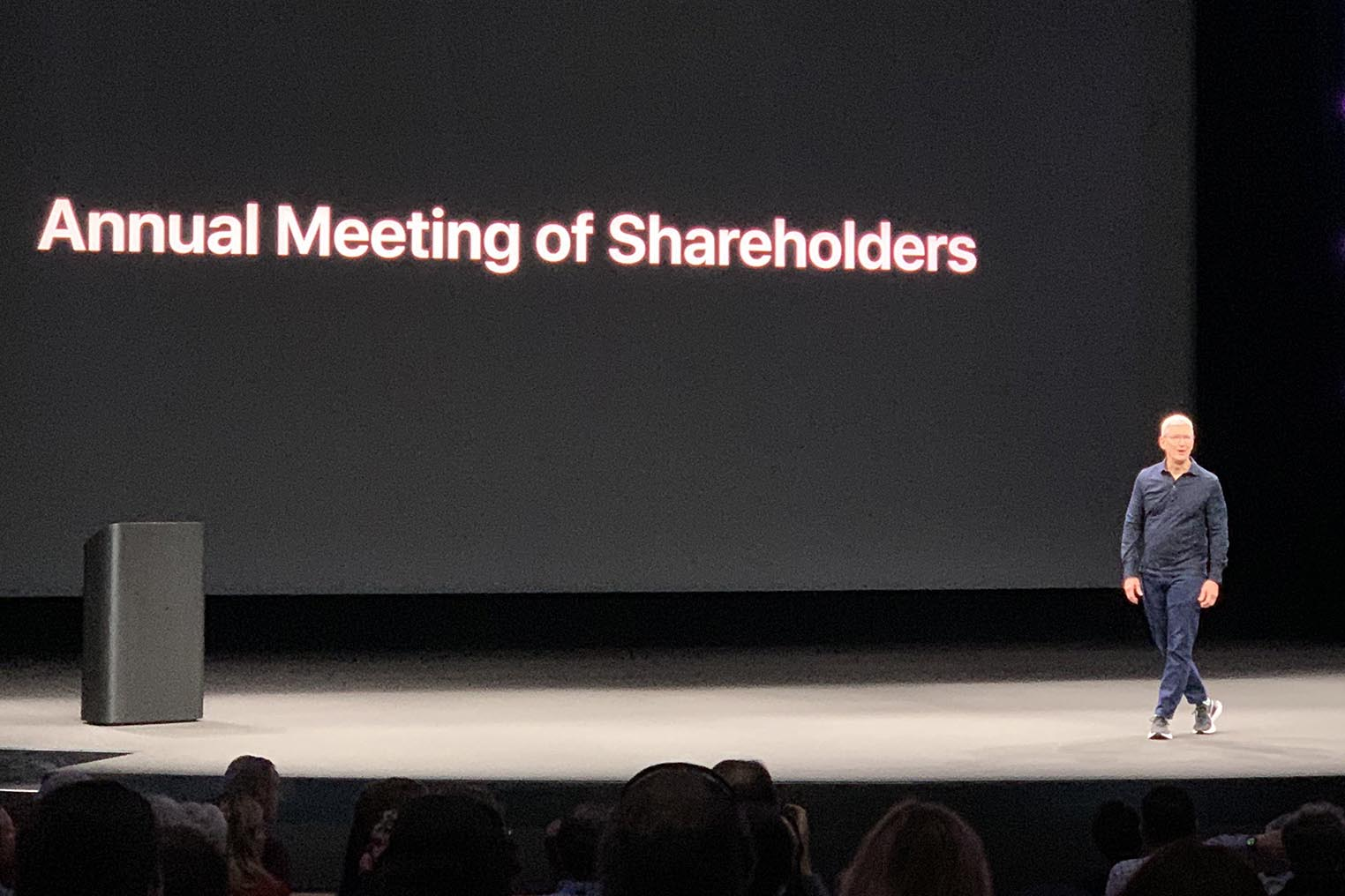 Tim Cook Annual meeting of shareholders