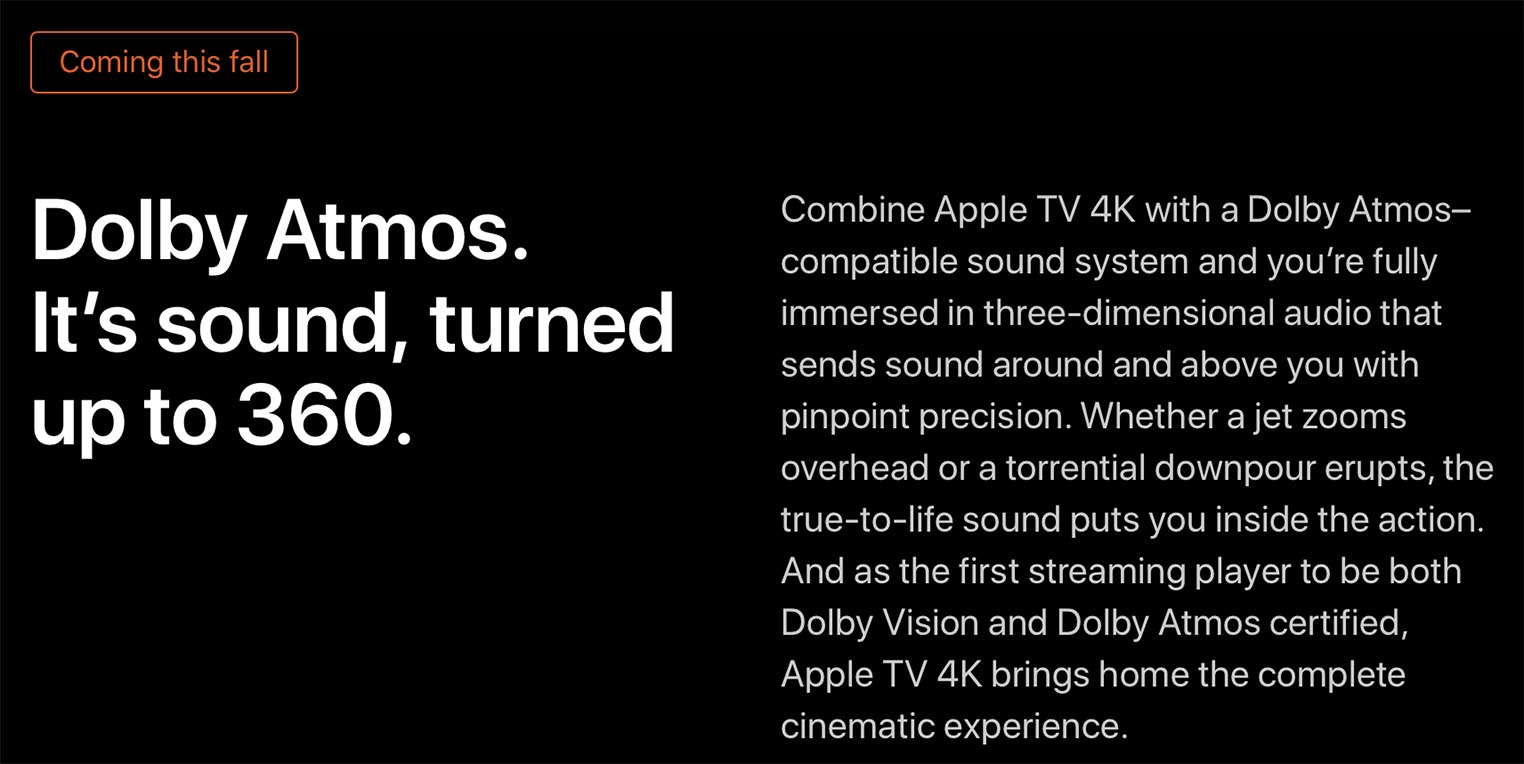 tvOS 12 Dolby Atmos