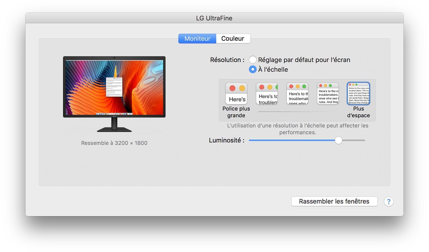 LG UltraFine test écran
