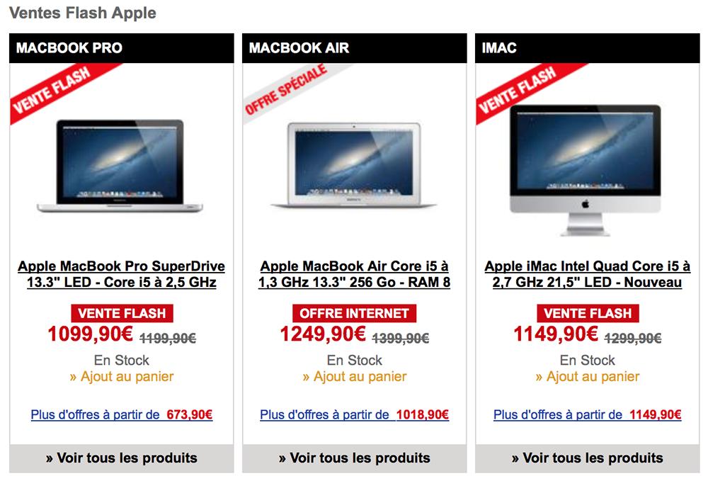 bonplan  nombreuses ventes flash mac a la fnac