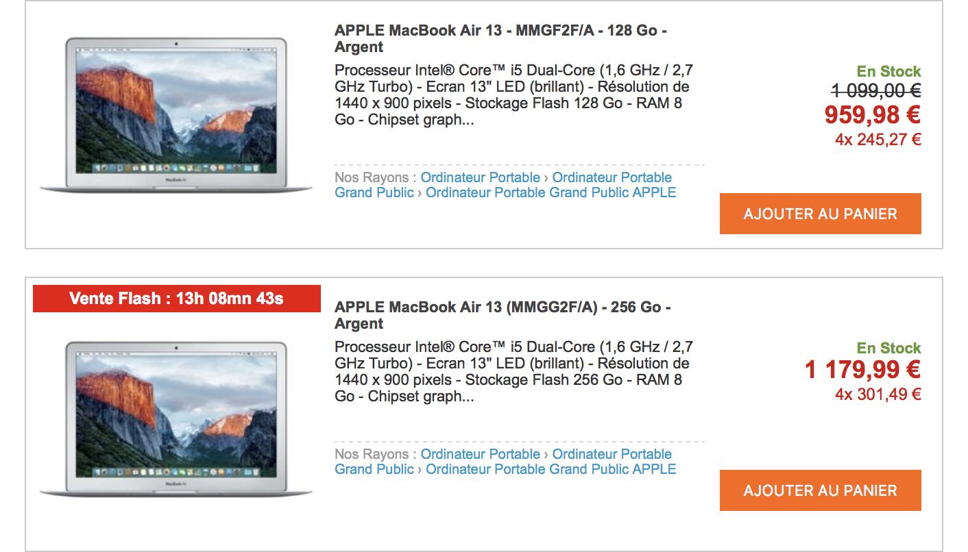 Vente flash MacBook Air