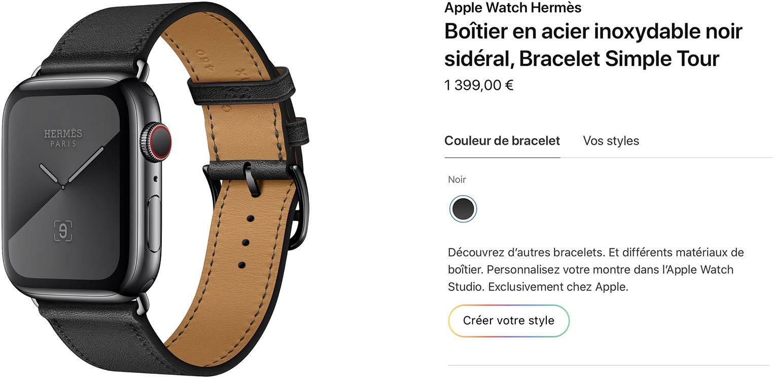 Apple Watch Hermès noir sidéral