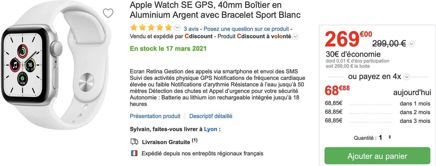 Promo Apple Watch SE CDiscount
