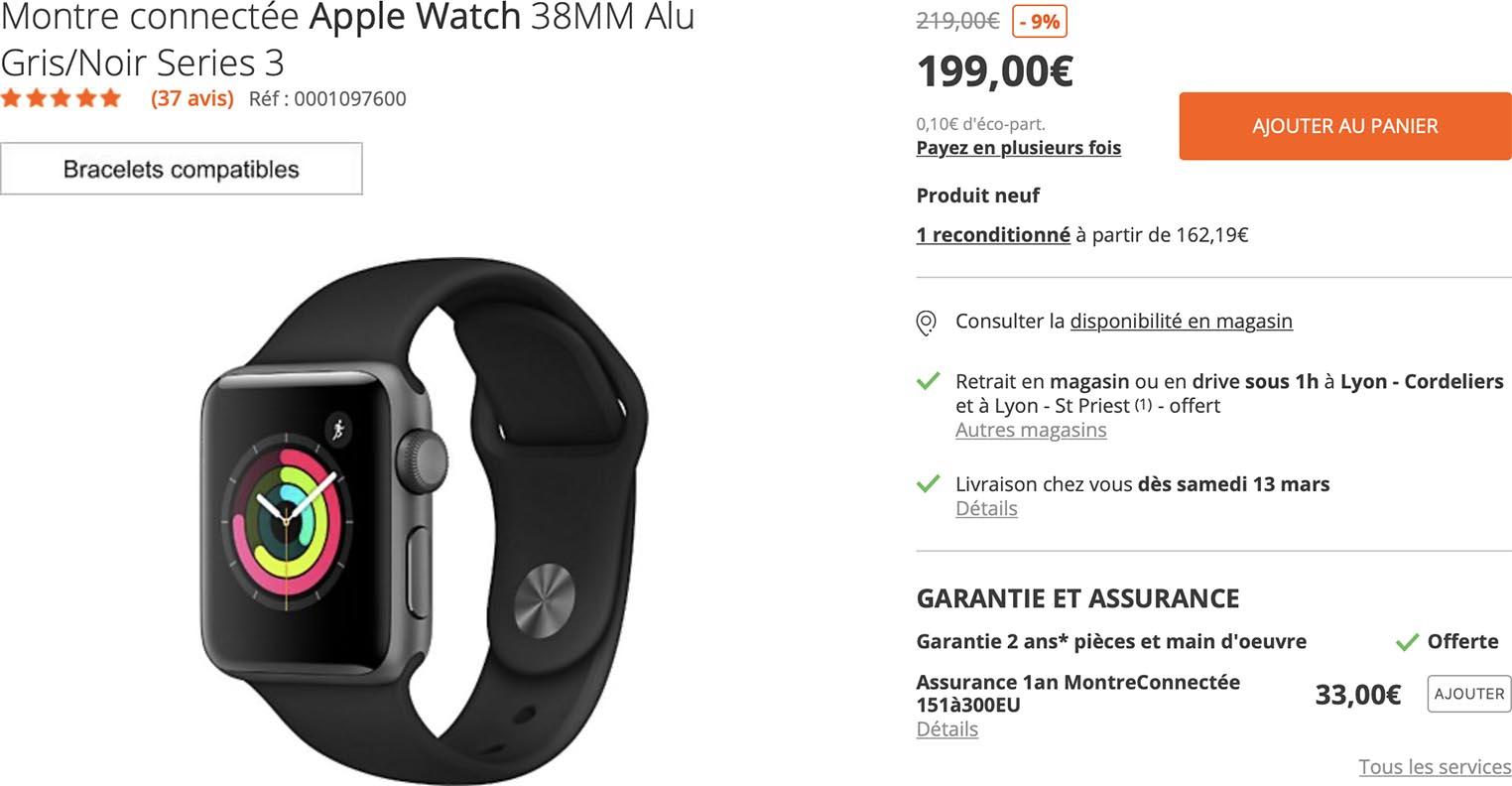 Apple Watch Series 3 Boulanger