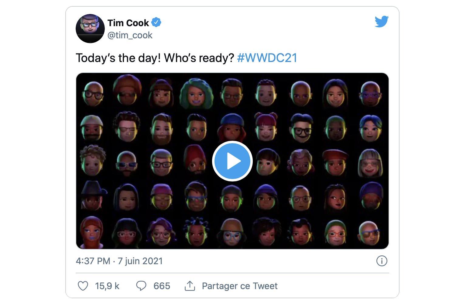 WWDC 2021 tweet Tim Cook
