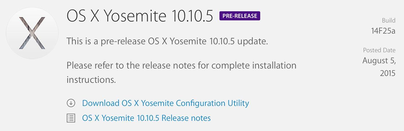 OS X Yosemite 10.10.5 beta 3